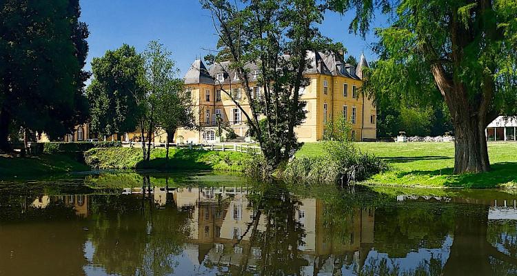 Le Château de Vaugrigneuse vue de son étang prêt à accueillir votre séminaire au vert
