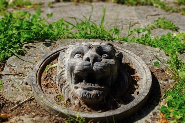 Château de Vaugrigneuse : tête de lion dans a cour d'honneur